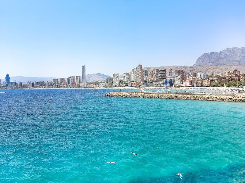 Benidorm Levante plaża w Alicante Śródziemnomorskim Hiszpania fotografia stock