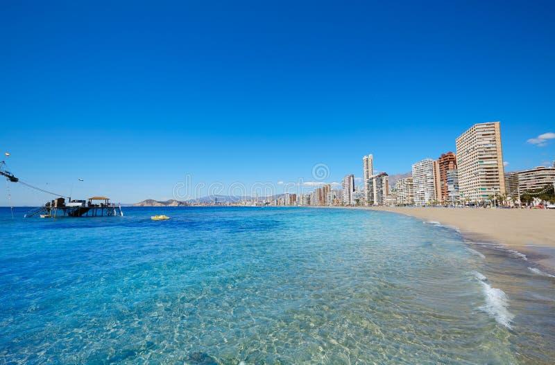 Benidorm Levante plaża w Alicante Hiszpania obrazy royalty free