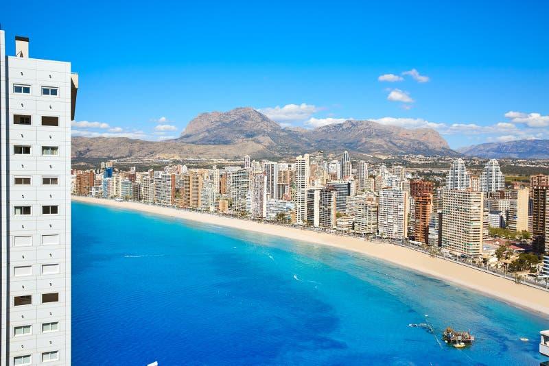Benidorm levante plaży widok z lotu ptaka zdjęcia royalty free