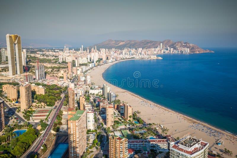 Benidorm levante plaży widok z lotu ptaka w Alicante Spain obraz royalty free