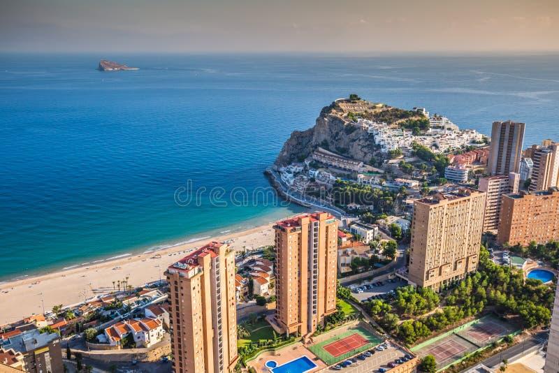 Benidorm levante plaży widok z lotu ptaka w Alicante Spain zdjęcie royalty free