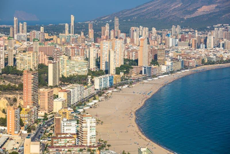 Benidorm levante plaży widok z lotu ptaka w Alicante Spain zdjęcie stock