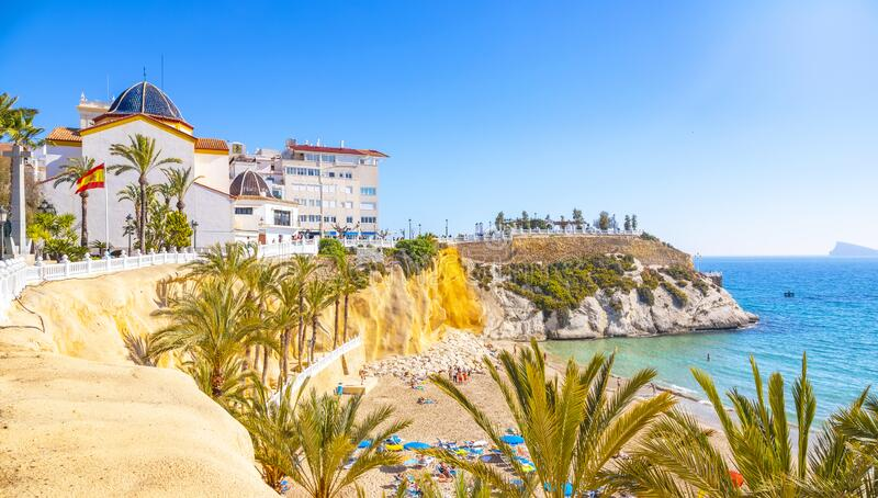 Benidorm old town and beach, Spain royalty free stock photography