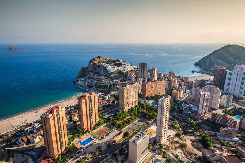 Benidorm Poniente plaża w Alicante Śródziemnomorskim Hiszpania obrazy royalty free