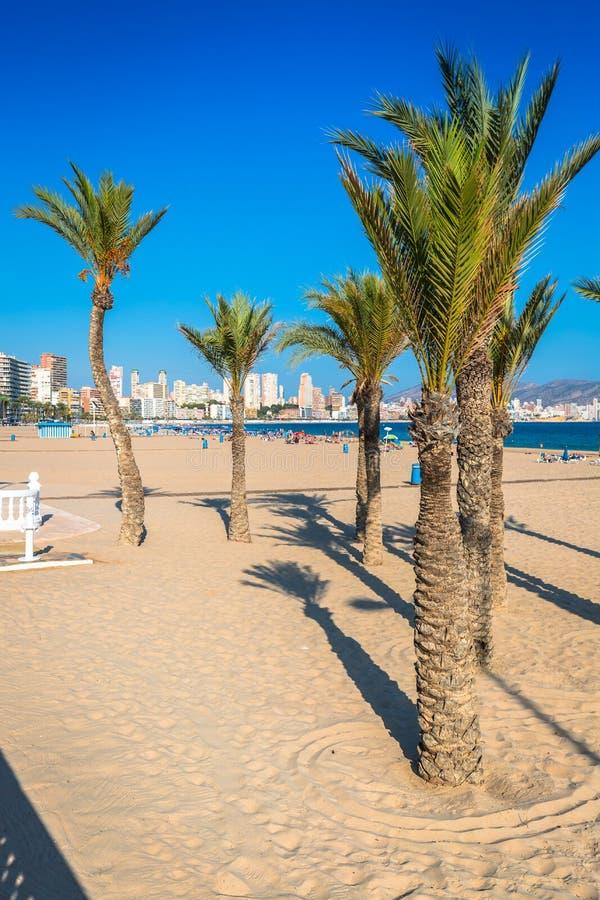 Benidorm Poniente plaża w Alicante Śródziemnomorskim Hiszpania obraz stock