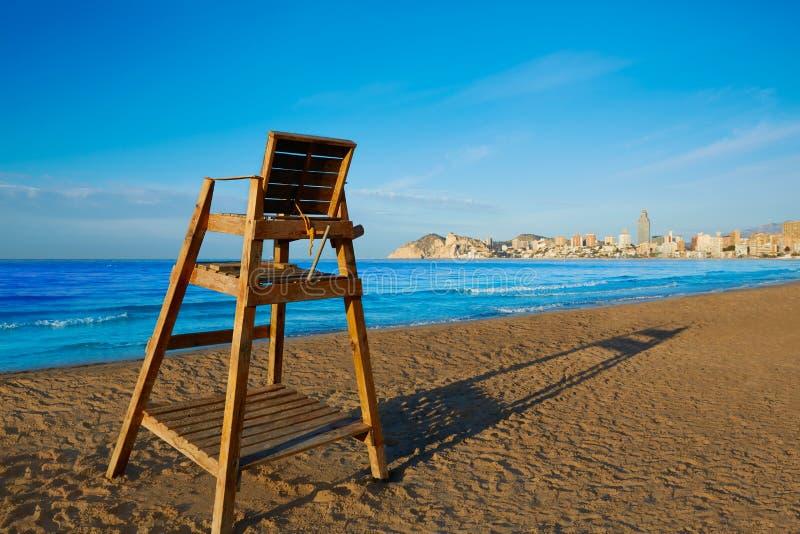 Benidorm Poniente plaży wieży obserwacyjnej siedzenie Alicante zdjęcia royalty free