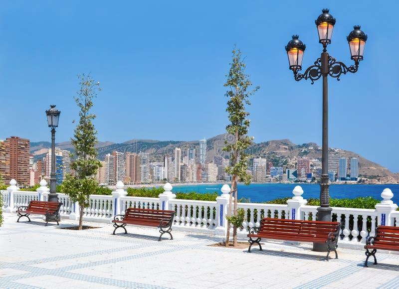Benidorm promenade, Costa Blanca, Spain royalty free stock images