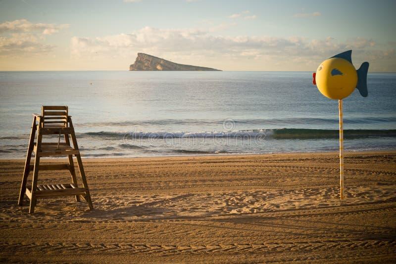 Benidorm strand vroege ochtend royalty-vrije stock foto