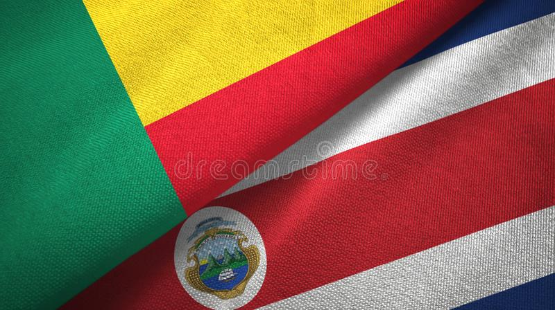 Benin and Costa Rica two flags textile cloth, fabric texture. Benin and Costa Rica flags together textile cloth, fabric texture royalty free illustration