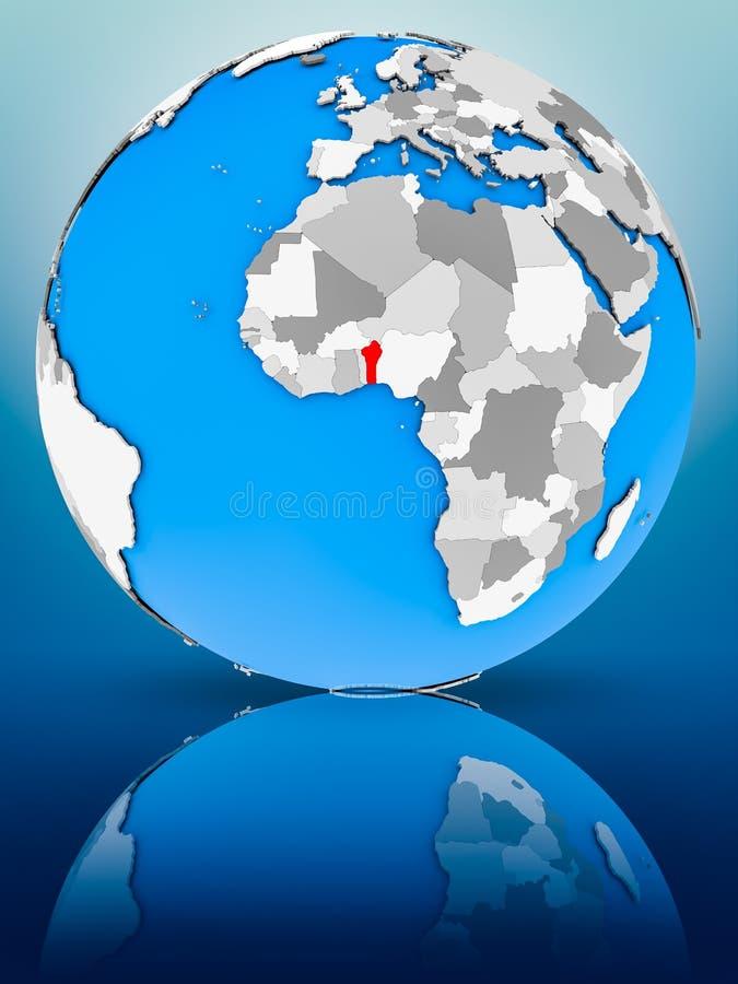 Benin en el globo político foto de archivo libre de regalías
