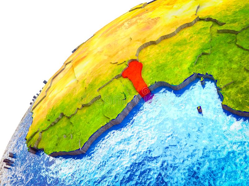 Benin en la tierra 3D ilustración del vector