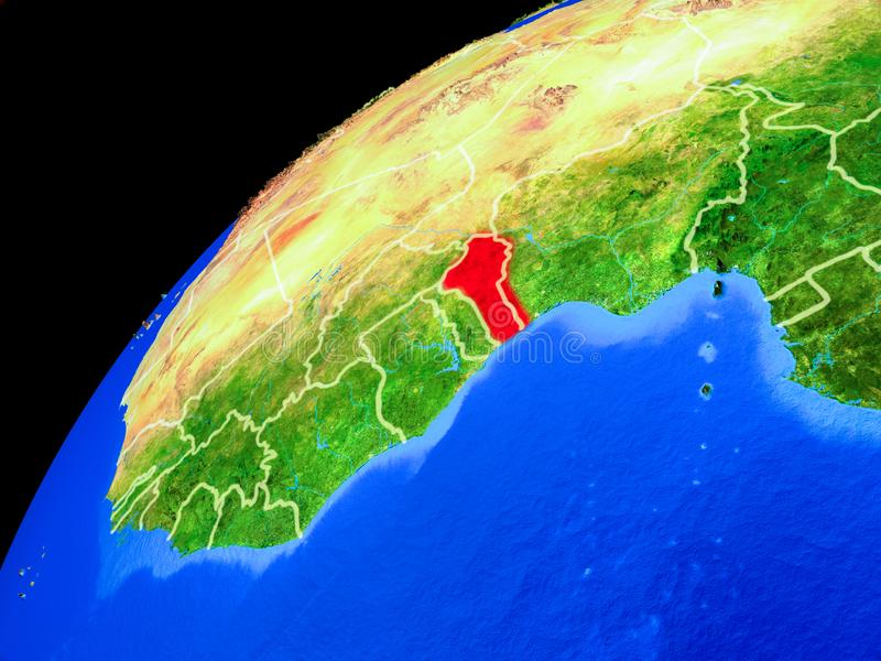 Benin en la tierra del espacio ilustración del vector