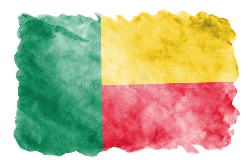 Benin flag is depicted in liquid watercolor style isolated on white background. Careless paint shading with image of national flag. Independence Day banner stock illustration