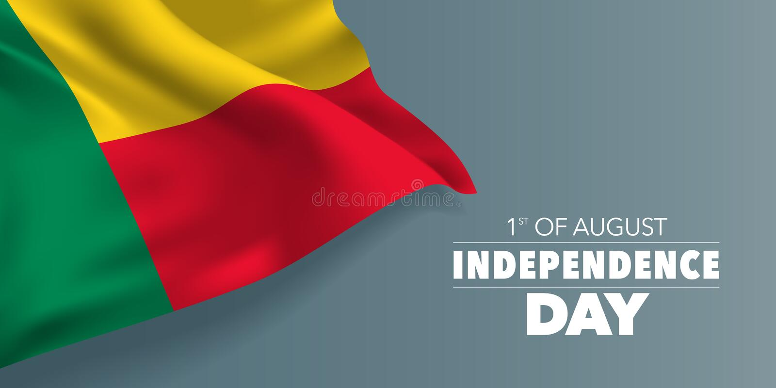 Benin happy independence day greeting card, banner with template text vector illustration. Memorial holiday 1st of August design element with flag with stripes royalty free illustration