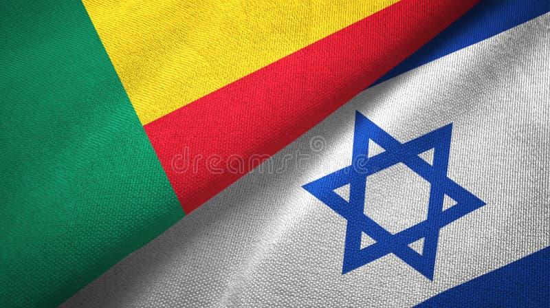 Benin i Izrael dwa flagi tekstylny p??tno, tkaniny tekstura ilustracja wektor