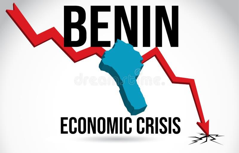 Benin Map Financial Crisis Economic Collapse Market Crash Global Meltdown Vector. Illustration royalty free illustration
