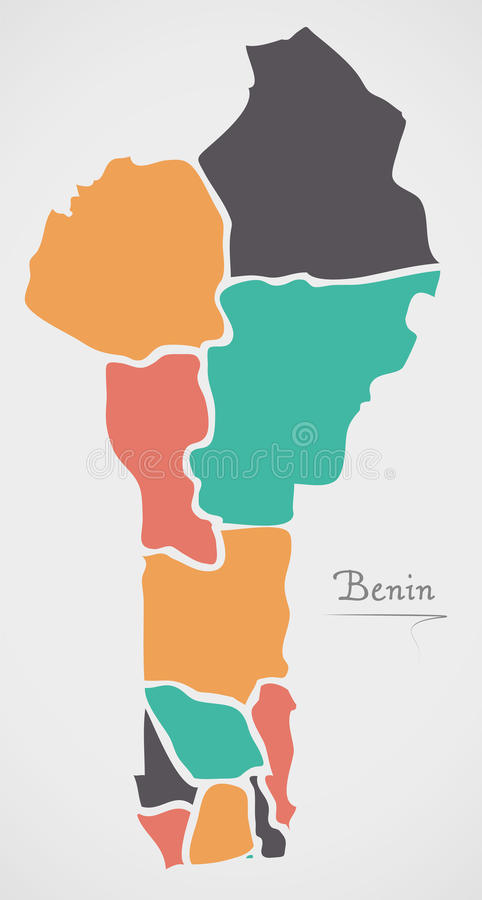 Benin Map with states and modern round shapes. Illustration stock illustration