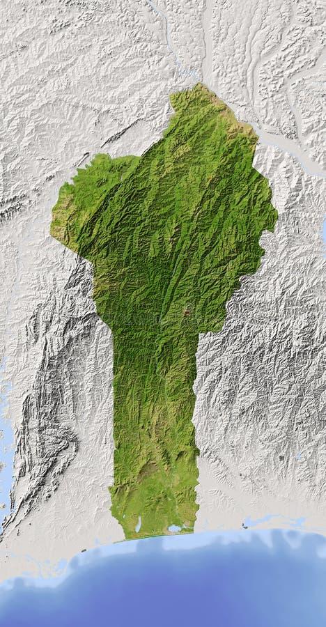 Benin, mapa de relevo protegido ilustração stock