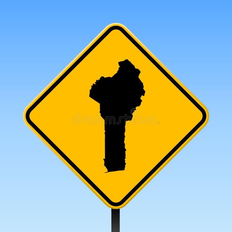 Benin mapa na drogowym znaku ilustracji