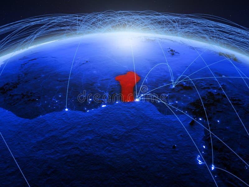 Benin op blauwe digitale aarde met internationaal netwerk die mededeling, reis en verbindingen vertegenwoordigen 3D Illustratie royalty-vrije stock afbeelding