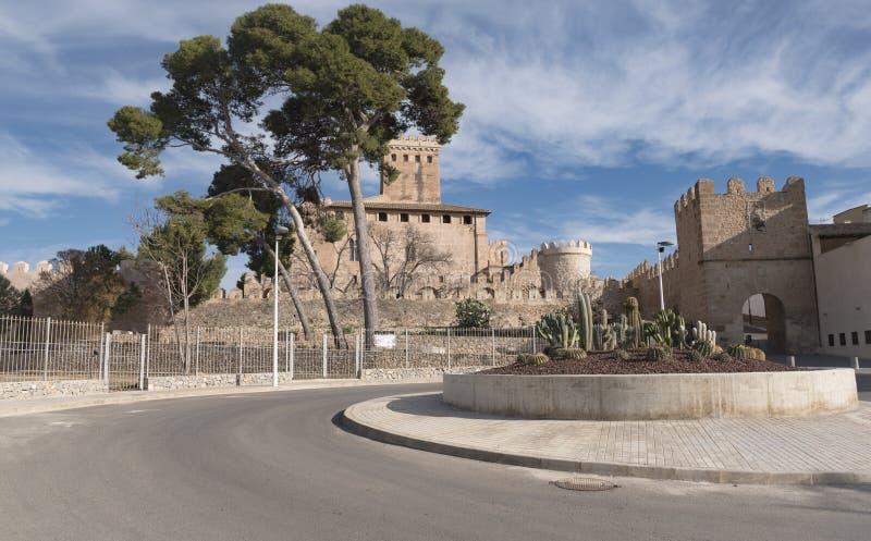 Benisano城堡panoramical视图仙人掌装饰品 库存图片