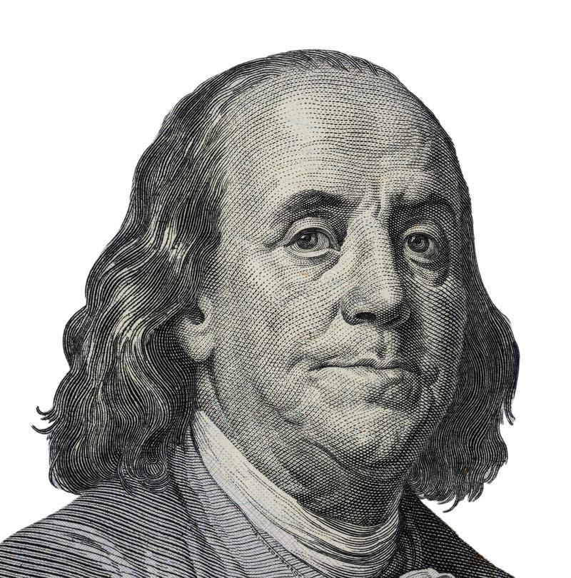 Benjamin Franklin 从100美元的定性画象banknot 免版税图库摄影