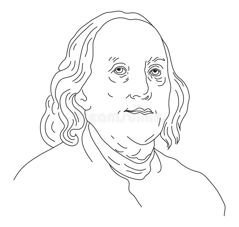 Benjamin Franklin. Portrait of American President Benjamin Franklin stock illustration