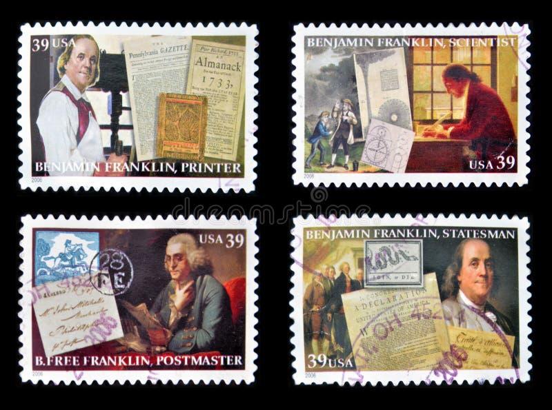 Benjamin Franklin. Collection stamps printed in USA shows Benjamin Franklin stock images