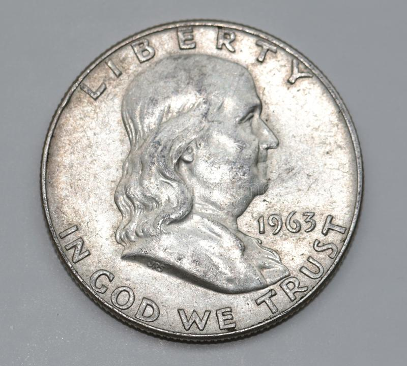 Benjamin Franklin American Half Dollar. 1963 Benjamin Franklin American Liberty Fifty cents antique coin royalty free stock photos