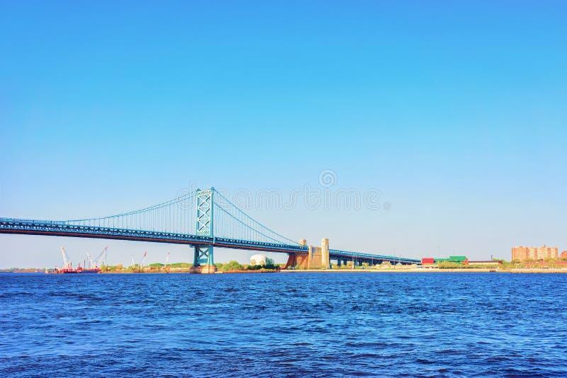Benjamin Franklin Bridge above Delaware River in Philadelphia stock image