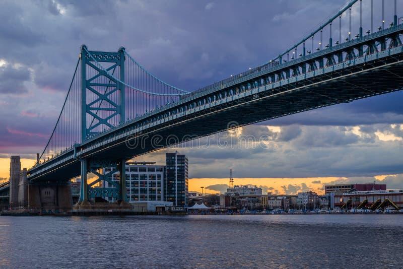 Benjamin Franklin Bridge en en de Rivier van Delaware bij zonsondergang, die van Camden, New Jersey wordt gezien royalty-vrije stock afbeeldingen