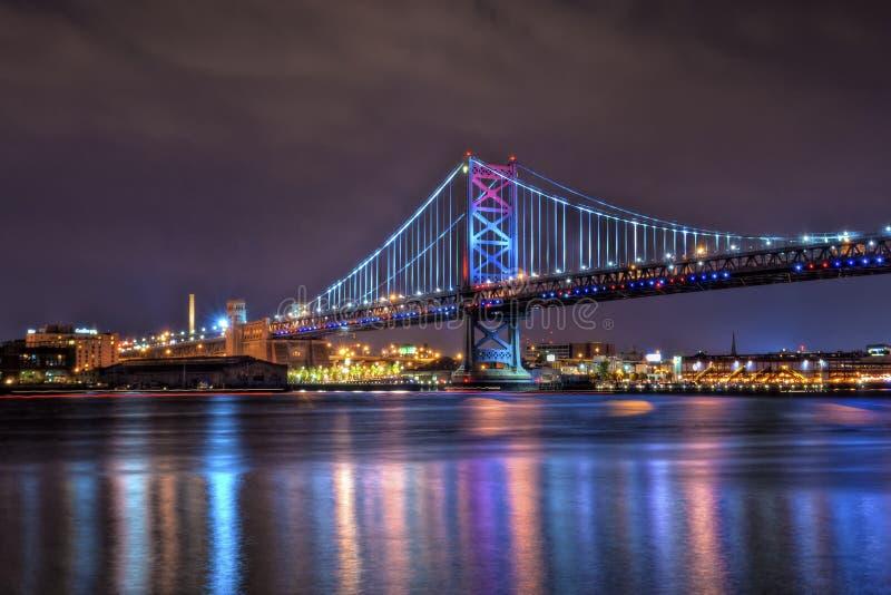 Benjamin Franklin Bridge at Night stock photos