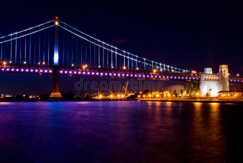 Benjamin Franklin Bridge at night stock photos