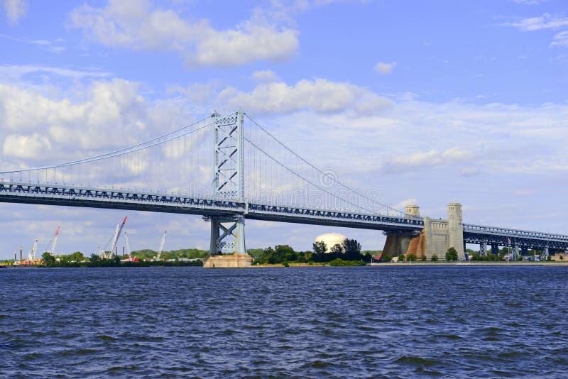 Benjamin Franklin Bridge, offically called the Ben Franklin Bridge, spanning the Delaware River joining Philadelphia, Pennsylvania. Benjamin Franklin Bridge royalty free stock image