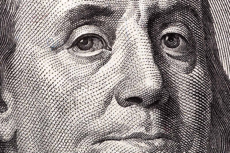 Benjamin Franklin, a close-up portrait stock photo