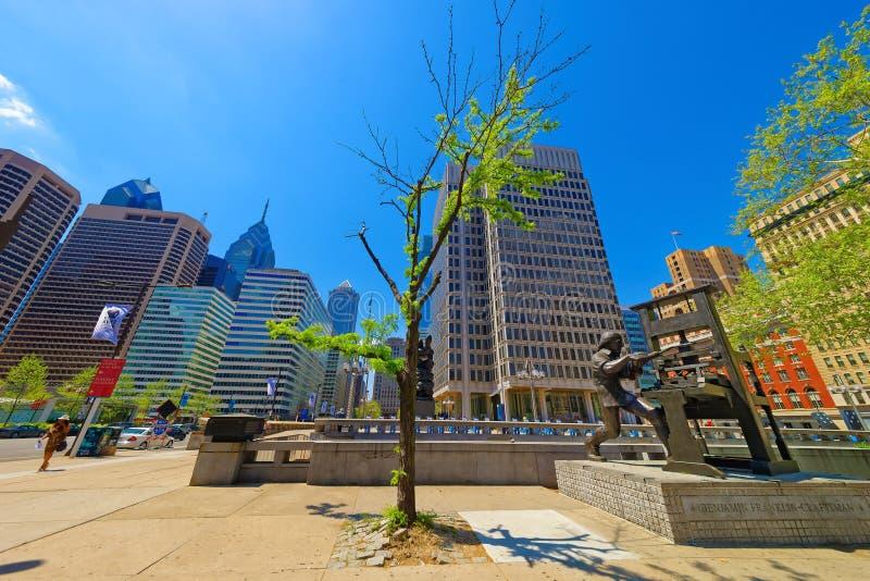 Benjamin Franklin Craftsman sculpture at Municipal Services Building in Philadelphia stock photos