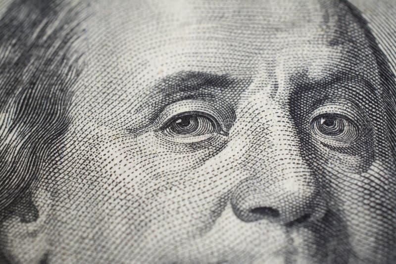 Benjamin Franklin on 100 dollar bill stock photo