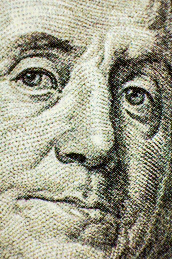 Benjamin Franklin From Dollar Bill, One Hundred Dollars, Close up royalty free stock photo