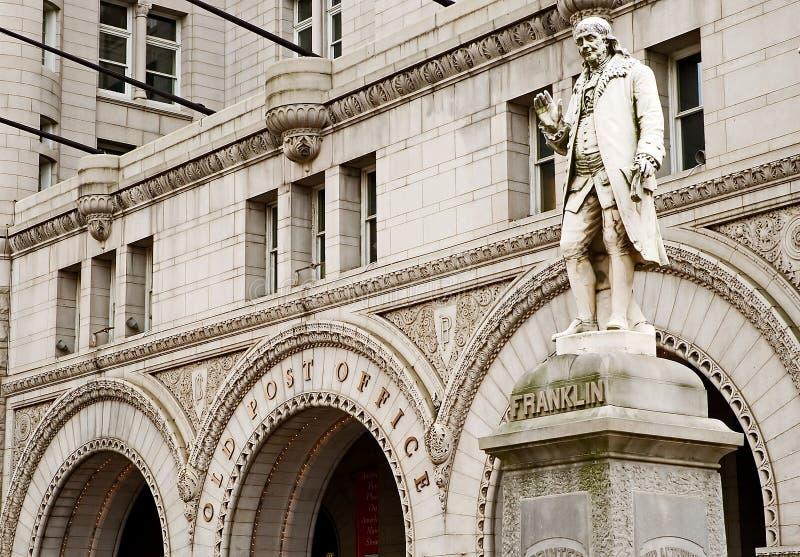 Benjamin Franklin - Eerste Postbeambte stock foto's