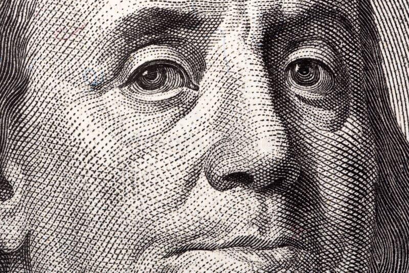 Benjamin Franklin, ein Nahaufnahmeporträt stockfoto