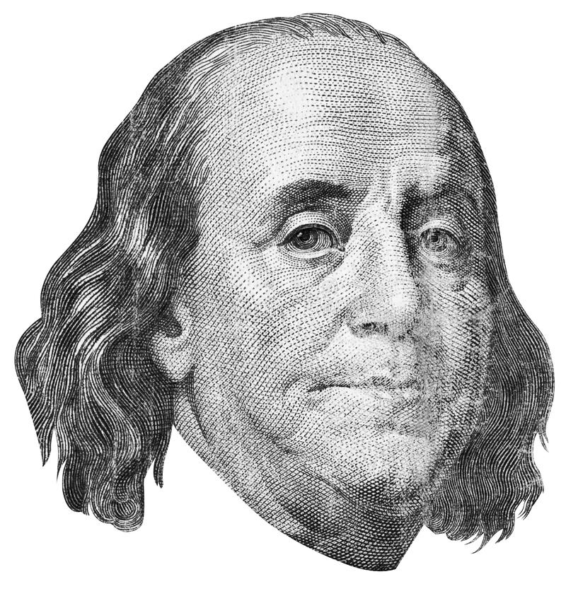 Benjamin Franklin Engraving Stock Images