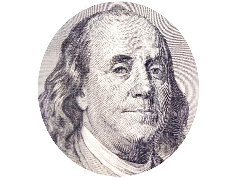 Benjamin Franklin face in ellipse on 100 dollar bill o white background. royalty free stock photography