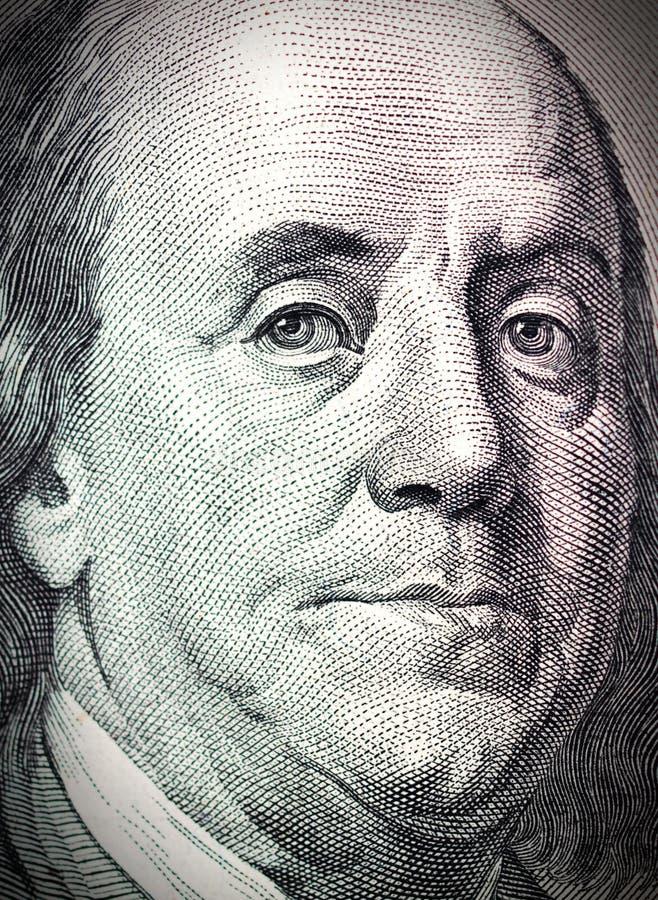 Benjamin Franklin gezicht op dollarrekening royalty-vrije illustratie