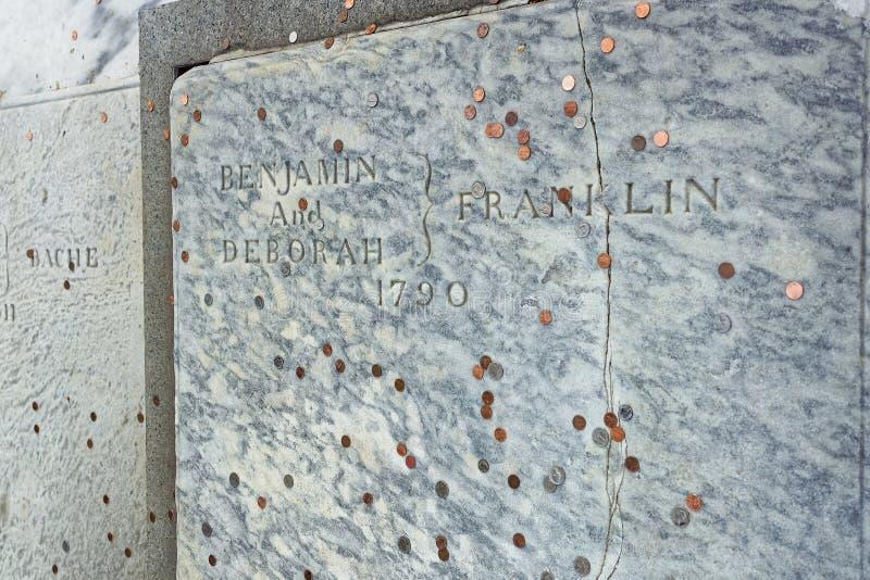 Benjamin Franklin Grave at Christ Church Burial Ground in Philadelphia royalty free stock photo