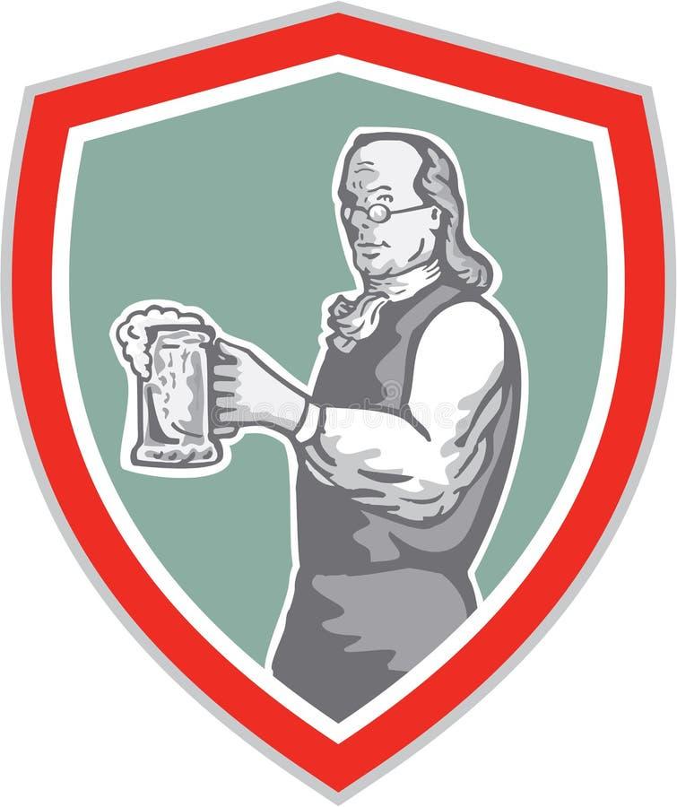 Benjamin Franklin Holding Beer Shield Retro stock abbildung
