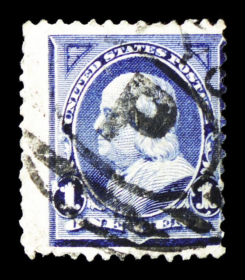 Benjamin Franklin 1706-1790, leading author and politician, 1895 Regular Issue serie, circa 1895. MOSCOW, RUSSIA - MARCH 23, 2019: A stamp printed in United stock photo