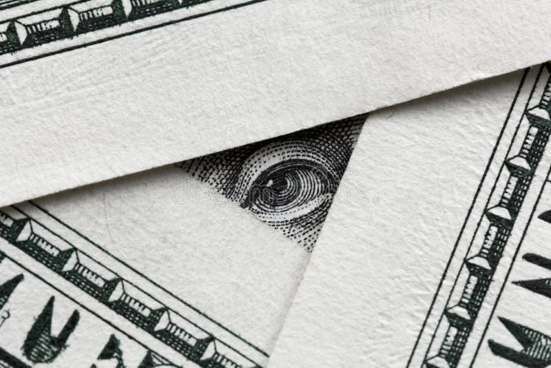 Benjamin Franklin patrzeje od sto dolarów banknotów zdjęcia stock