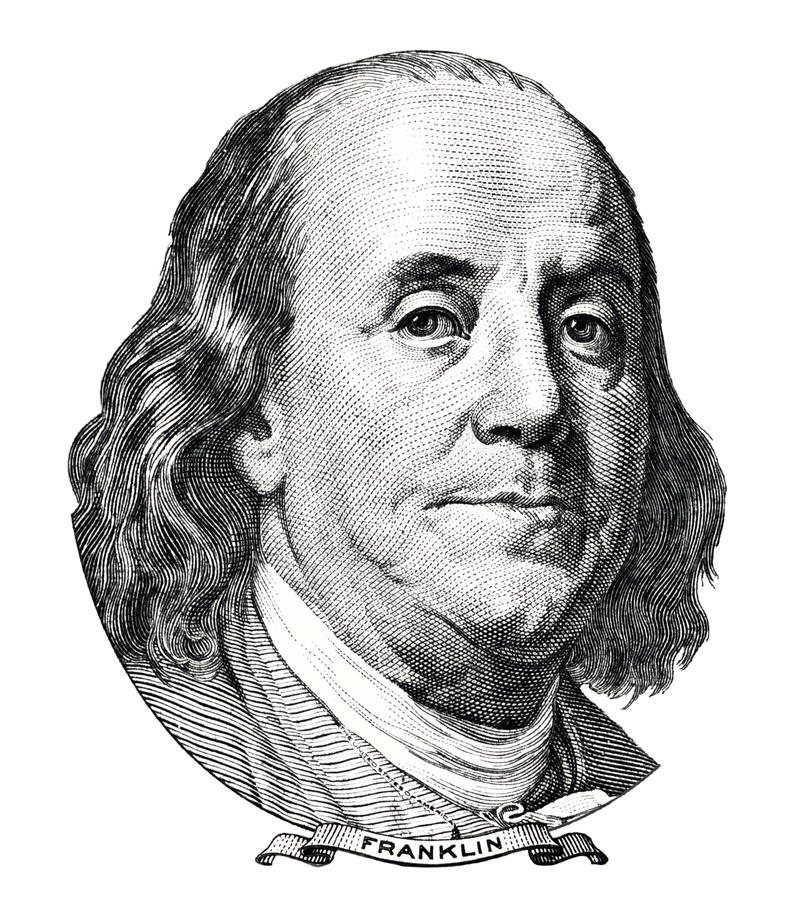 Benjamin Franklin-Porträt lizenzfreie abbildung