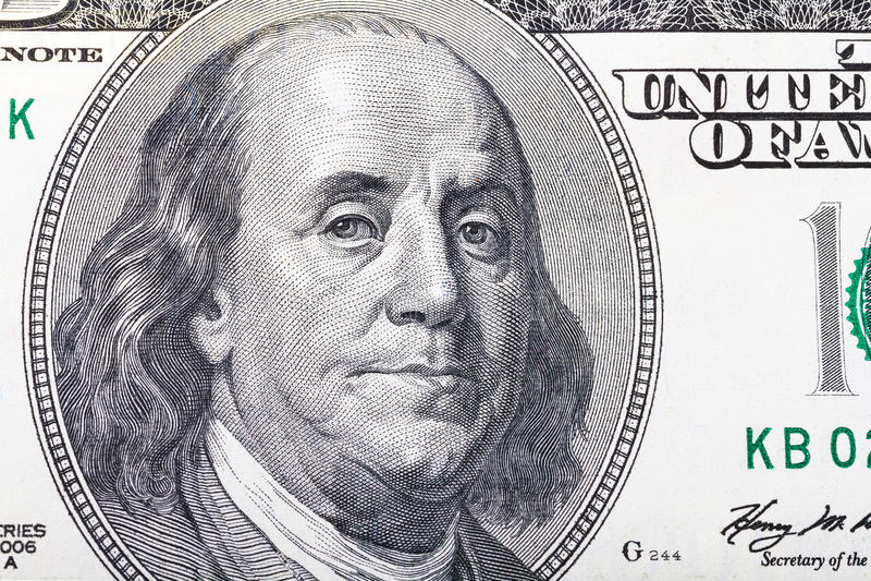 Benjamin Franklin-Porträt auf hundert Dollar lizenzfreie stockbilder