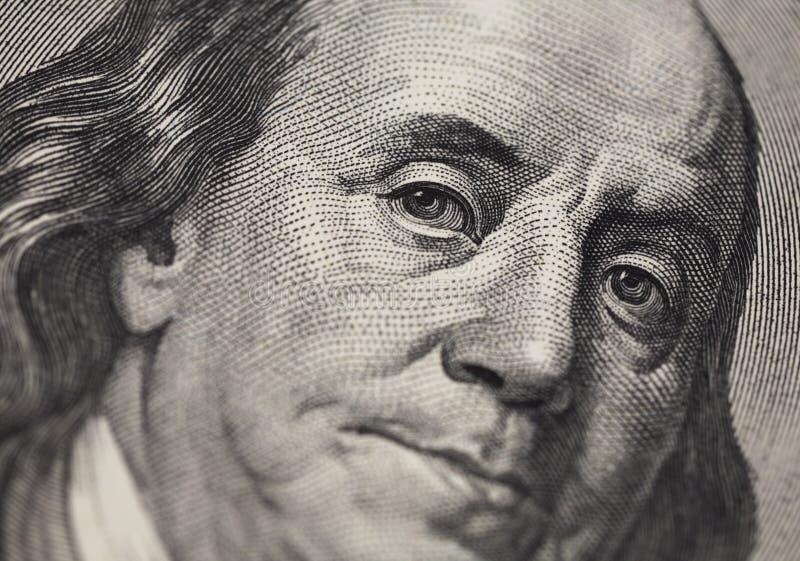 Benjamin Franklin portret van 100 dollarsbankno stock fotografie